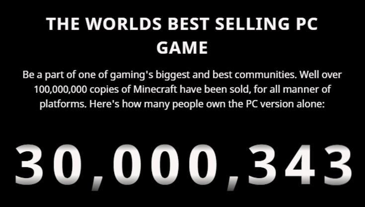 Minecraft [Versão Java para PC] - Chegou a 30 milhões de cópias vendidas.