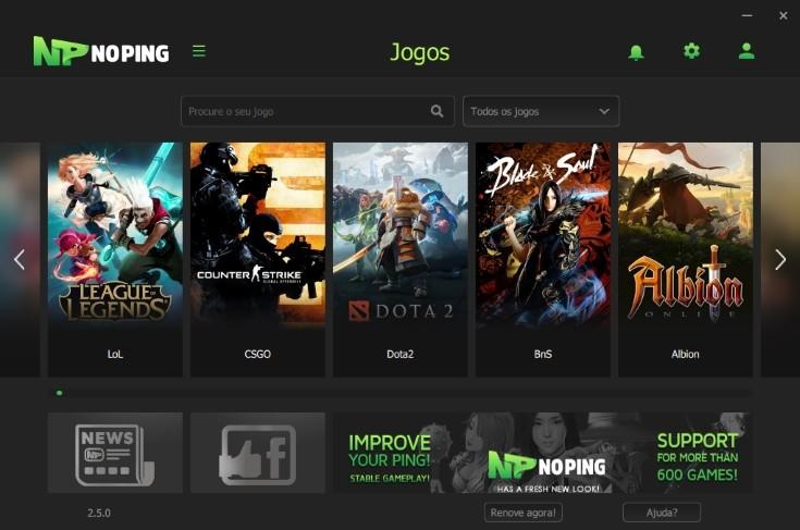 NoPing: Painel de seleção de games para otimizar a conexão. (imagem de reprodução)
